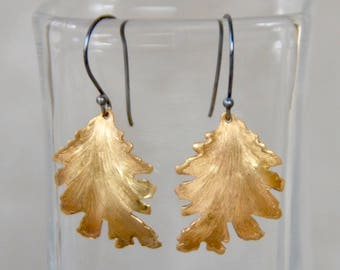 Brass Leaf on Black-Rhodium Plated Sterling-Silver French Wire