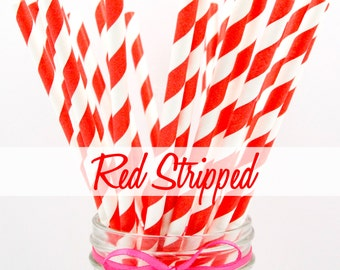 RED STRIPED - Red Striped Paper Straws - Party Paper Straws - Wedding - Birthday Decorations