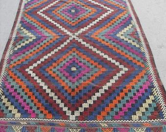 free shipping VINTAGE TURKİSH kütahya kilim Anatolian handwoven kilim rug decorative kilim - SİZE : 70'' X 118'' ( 175 cm X 295 cm)