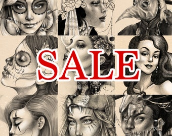 SALE! All of my 2017 A4 Black & Grey Realism Prints