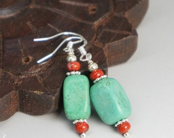 Genuine Turquoise Earrings - Natural Turquoise Jewelry - Sterling Silver Dangle Stone Earrings.
