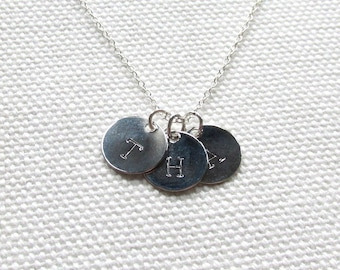 Silver Initial Disc Necklace One Two Three or More Disc Necklace Sterling Silver Chain Custom Personalized Jewelry Dainty