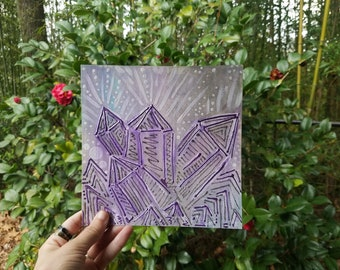 """Amethyst Crystals 7.5""""x7.5"""" painting 2014- crystal art- crystals painting- acrylic painting- watercolor- texture- glittery- sparkles"""