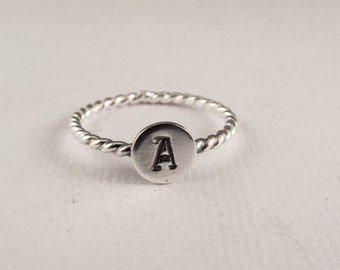 Mini Initial Stacking Ring, Mothers Ring, Personalized Ring, Sterling Silver Initial Ring