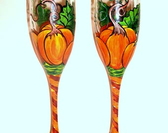 Orange Pumpkins with Leaves & Vines Hand Painted Champagne Flutes Set of Two 6 oz. Toasting Flutes Halloween Pumpkins Thanksgiving Tableware