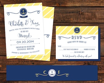 Nautical Wedding Invitation, RSVP and Belly Band - Navy, Yellow, White - Anchor and Stripes