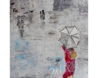 European Art Print, Rainy Day in Paris, Umbrella Print, Paris Street Print, French Street Scene, Paris Street Scene, Bedroom Decor