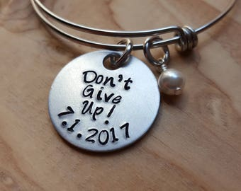 """JW Regional Convention Bracelet- Hand-Stamped """"Don't Give Up!"""" with a date and accent bead of your choice- great Baptism Gift!"""