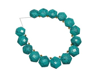 Turquoise Hexagon Shaped Beads, Turquoise Fancy Briolette Beads, Turquoise Facted Briolettes (14 mm approx)
