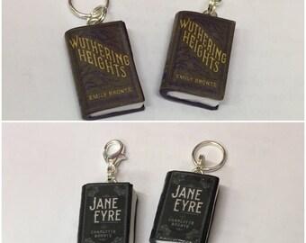 Handmade Charlotte Bronte, Emily Bronte Inspired, Polymer Clay Miniature Book, Mini Book Charm, Knitting Crochet Stitch Marker
