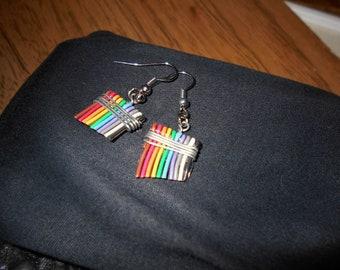 Short Rainbow Wire Earrings, Brush Stroke, Paintbrush, computer wire, upcycled, gift for her, artist earrings, paintbrush charm