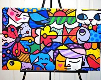 Abstract Fish Canvas.Fish Digital Canvas.Fish .Handmade Digital Canvas