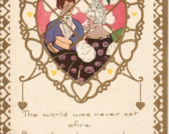 Vintage Valentine Whitney Made Postcard Gold Hearts