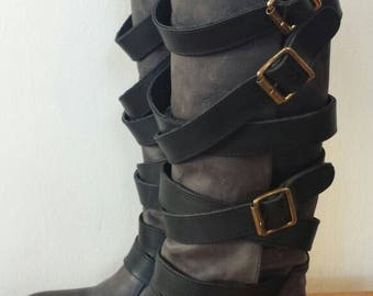 Steve Madden Tall Grey and Black Leather Multi Buckle and Strap Boots Women's sz 7