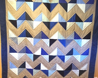 Throw Quilt - modern chevron blue