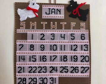 Scottie Dog plastic canvas perpetual calendar, calendar wall hanging