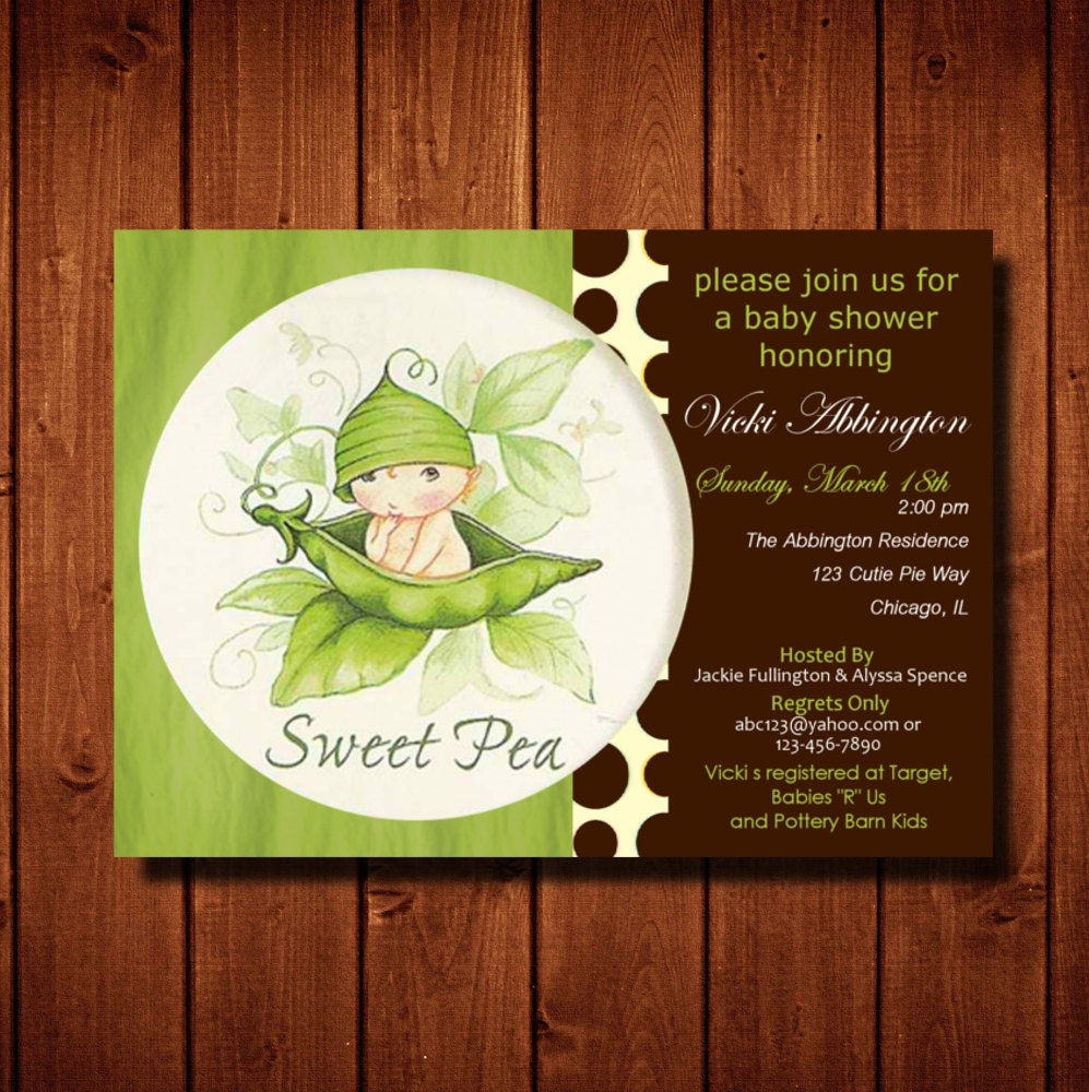 Sweet Pea Baby Shower Invitation Boy or Girl Digital File