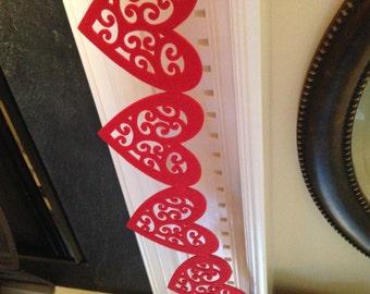 Sale - Vintage Valentines Day  / Wedding Garland  Decoration, Photo Prop - 6 Large Felt Hearts - READY TO GO