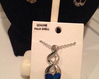 Vintage PAUA SHELL Hearts Jewelry Set of Necklace & Earrings