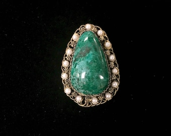 800 Silver Turquoise Brooch