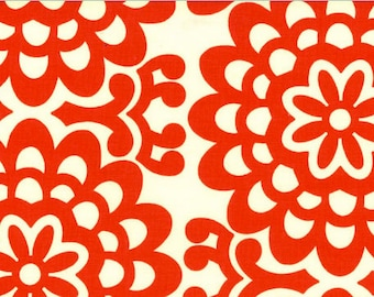 Amy Butler Lotus Collection Wall Flower Cherry Fabric - Red Flowers  1 Yard