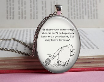 Silver or bronze Oval Winnie The Pooh & Piglet 'In your heart' oval glass dome pendant necklace (piglet, friendship, friend, love)