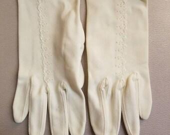 LITTLE DOT GLOVES // Vintage Crisp White Gloves Deadstock New Old Stock Made in France 60's