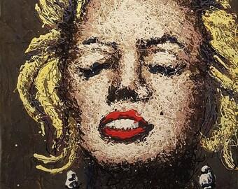 ORIGINAL Marilyn Monroe Painting, Marilyn Monroe Wall Art, Marilyn Monroe Decor, Marilyn Painting, Drip Painting, Drip Art, Original Art