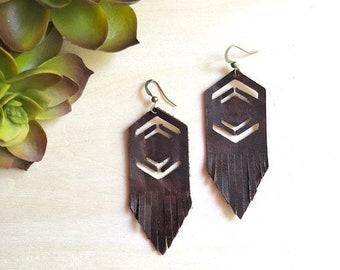 Fringe Earrings, Leather Earrings, Boho Chic, Trendy, Lightweight, Leather Fringe earrings, Hexagon Earrings, Drop Earrings, Geometric