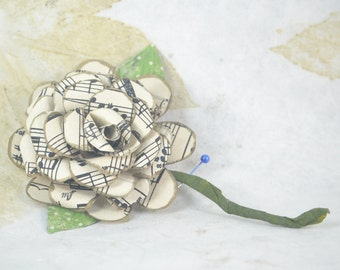 Sheet Music CORSAGE - Upcycled Boutonniere Lapel Pin - Paper Flower Corsage - Sheet Music Paper Flower Pin - Unisex Flower Pin