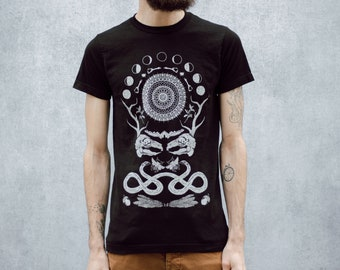 Rabbit Skull Antler Collage Screen Printed Punk Black T-Shirt