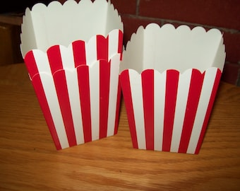 Mini Red Striped Popcorn .Boxes Movie Night, Party Set of 12