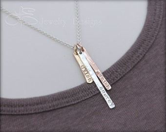 Hand Stamped Bar Necklace - gold silver rose gold vertical bar, skinny bar necklace, mother's necklace, mixed metal