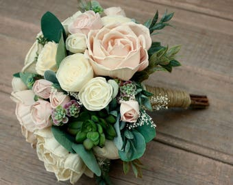 Blush pink wedding bouquet, sola wood flower bouquet, succulent wedding bouquet, ecoflowers, paper flower, wood flower bouquet