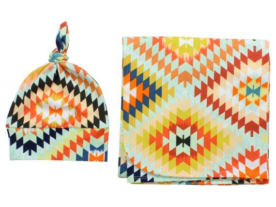 Newborn Swaddle Set Swaddle Blanket Top Knot Hat Knot Headband Colorful Aztec Tribal Serape Blanket Jersey Swaddle Baby Blanket Serape Set