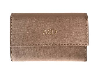 PERSONALISED MONOGRAMMED Saffiano Leather Bi-Fold Wallet Taupe Nude Beige