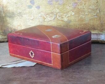 Leather Jewelry Box, Vintage Italian Locking Dresser Box, Masculine Bedroom Vanity Office Decor