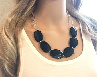Black Statement Necklace & Earrings, black jewelry, Your Choice GOLD or SILVER, black bib chunky necklace, black geometric necklace