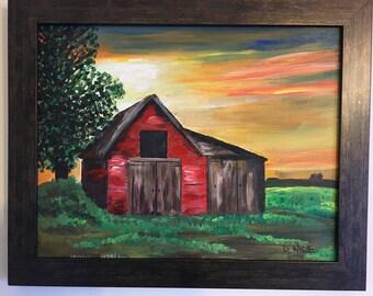 Red Farm Sunrise - Original Acrylic Artwork 11x14