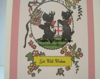 Get Well Wishes Greeting Card with Printed Scottish Terrier. Hand finished and embellished.