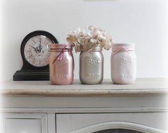 Hand Painted Ceramic Mason Ball Jars, Set of 3 or Singular, Pink, Metallic Rose, Champagne, Storage, Vase, Home Decor