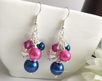 Hot Pink and Navy Earrings Jewelry Gift for Her Pearl Cluster Earrings Fuchsia and Navy Wedding Earrings Bridesmaid Earrings Bridesmaid