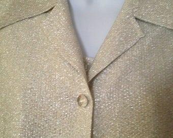 Wedding Pant Suit Silver Lame Pant Suit Vintage 3 Piece Pant Suit 1970's Vintage Shimmery Pants Suit Great Wedding Suit Size 12 Elastic