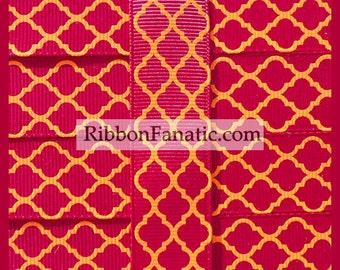 "5 yds 7/8"" Maroon and Orange Virginia Tech Quatrefoil Moroccan Tile Lattice Grosgrain Ribbon"
