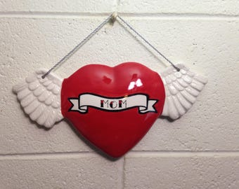 Tattoo Mom Heart With Wings Wall Art Hanging handmade hand made OHIO USA tattoo ceramic pottery winged