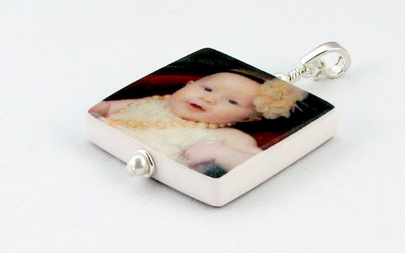 P2 - Custom Photo Pendant Keepsake - Medium - Handmade Photo Tile Jewelry