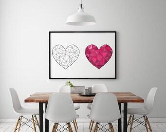 Origami Love Heart Print, Geometric love Heart Print. Digital Art Print Gift