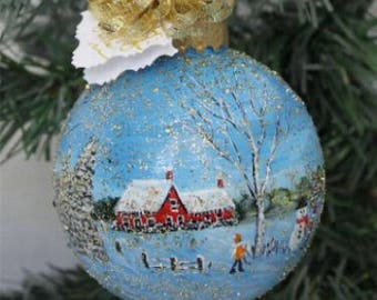 Painted Ornament - Hand Painted Christmas Ornament - Winter Scene Ornament - Hand Painted Ornament - Christmas Gift - Best Friend Gift