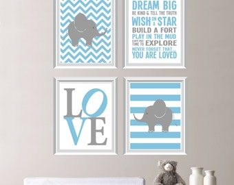 Love Elephant Rules Quad - Baby. Decor. Nursery. Boy. - Shown in Light Blue, Gray - You Pick the Size (NS-169)
