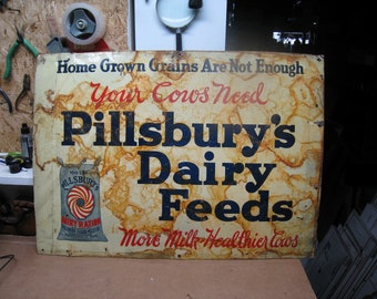 1920s - 30s PILLSBURY Dairy Feeds For The Healthier Cow Tin Litho ADVERTISING SIGN